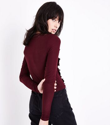 Burgundy Frill Trim Long Sleeve Ribbed Top New Look