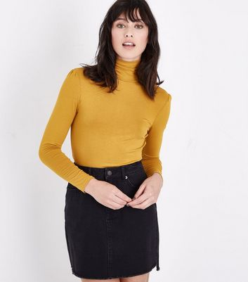 Mustard Yellow Roll Neck Top New Look