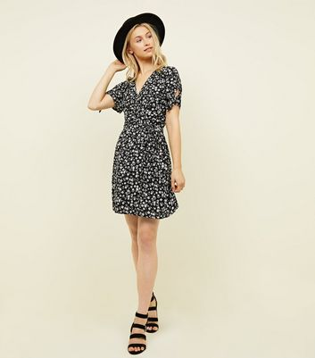 Black Ditsy Floral Print Wrap Dress New Look