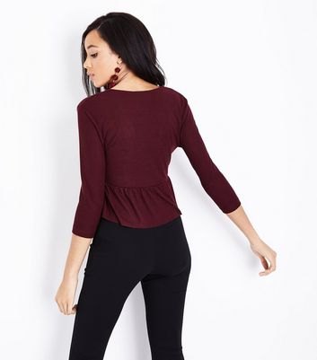 Burgundy Ribbed Tie Front Top New Look