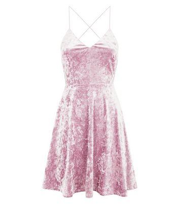 Shell Pink 2 Tone Velvet Strappy Skater Dress New Look