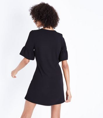Black Eyelet Lace Up Bell Sleeve Tunic Dress New Look