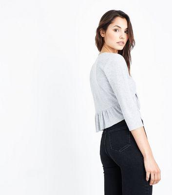 Grey Tie Front Peplum Hem Top New Look
