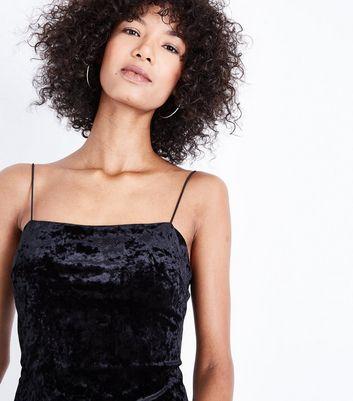 Black 2 Tone Velvet Slip Dress New Look