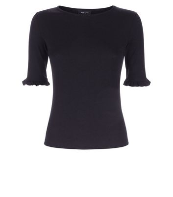 Black Frill Sleeve Ribbed T-Shirt New Look