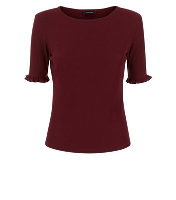 Burgundy Frill Sleeve Ribbed T-Shirt New Look