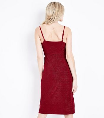 Red Glitter Wrap Front Dress New Look