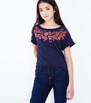 Teens Navy Floral Puff Print T-Shirt New Look