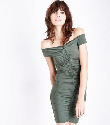 Khaki Ruched Front Sweetheart Neck Mini Dress New Look
