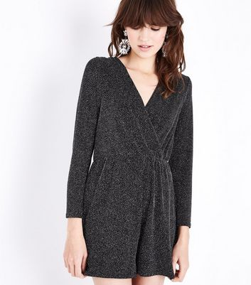 Black Glitter Tie Back Playsuit New Look