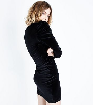 Black Velvet Ruched Sleeve Bodycon Dress New Look
