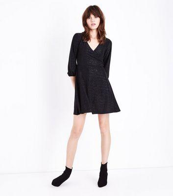Black Glitter Wrap Front Mini Dress New Look