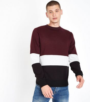 Burgundy Colour Block Sweatshirt New Look
