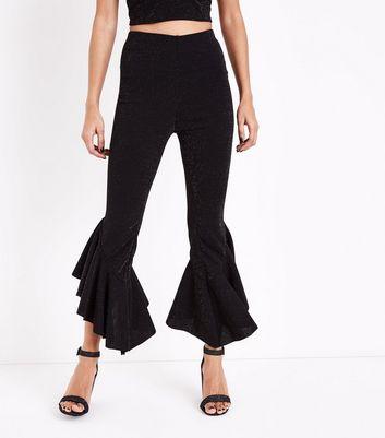 Petite Black Glitter Frill Hem Trousers New Look