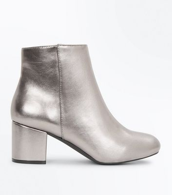 Girls Silver Metallic Block Heel Ankle Boots