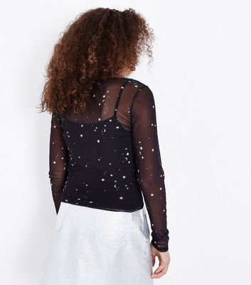 Teens Black Cosmic Print Mesh Top New Look