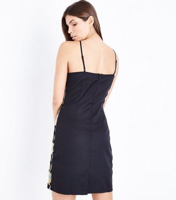 Black Floral Embroidered Slip Dress New Look