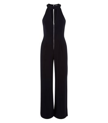 Petite Black Zip Front Split Leg Jumpsuit New Look