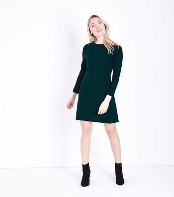 Petite Dark Green 3/4 Sleeve Tunic Dress New Look