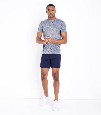 Navy Marl Crew Neck Sport T-Shirt New Look