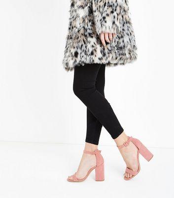 Pink Suedette Block Heel Sandals New Look