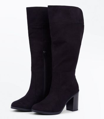 Black Suedette Cut Out Back Knee High Boots New Look