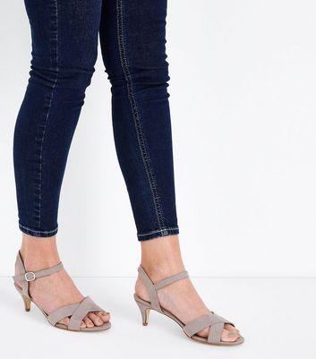 Wide Fit Grey Suedette Kitten Heel Sandals New Look