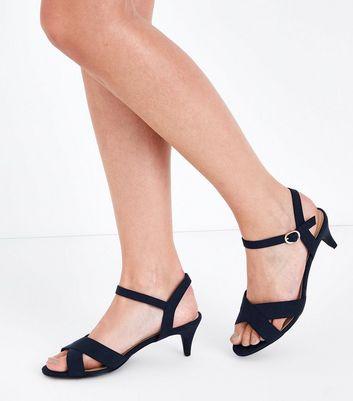 Wide Fit Navy Suedette Kitten Heel Sandals New Look