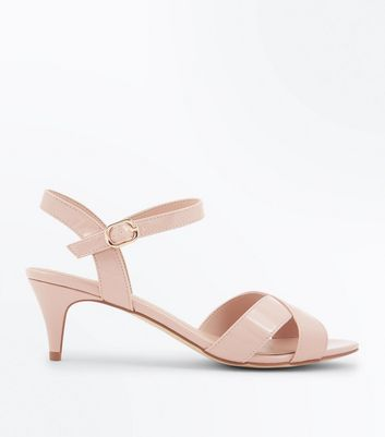 Wide Fit Nude Patent Kitten Heel Sandals New Look