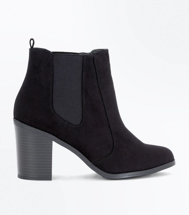 7b570d69c1d898 Schwarze Chelsea-Stiefel aus Wildlederimitat mit Blockabsatz