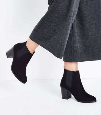 Black Suedette Block Heel Chelsea Boots New Look