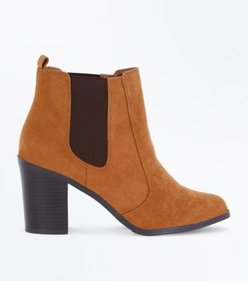 Tan Suedette Block Heel Chelsea Boots New Look
