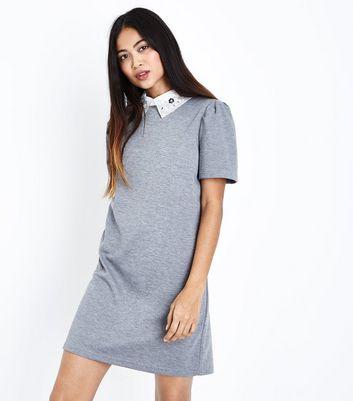 Petite Grey Embellished Collar Tunic Dress New Look