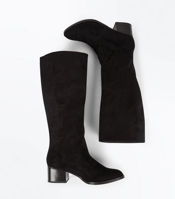 Black Suedette Block Heel Knee High Boots New Look