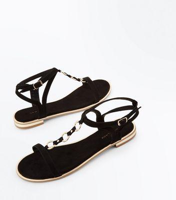 Black Suedette Metallic Ring Front Sandals New Look