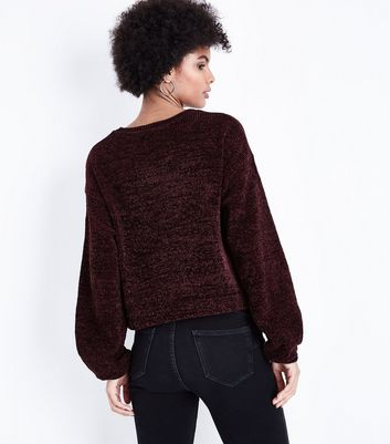 Burgundy Chenille Balloon Sleeve Jumper New Look