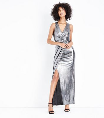 Silver Wrap Front Maxi Dress New Look