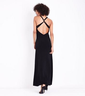 Black Cross Back Maxi Dress New Look