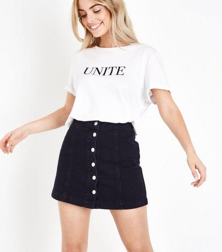 f626ab124dc Petite Black Button Front Denim Mini Skirt