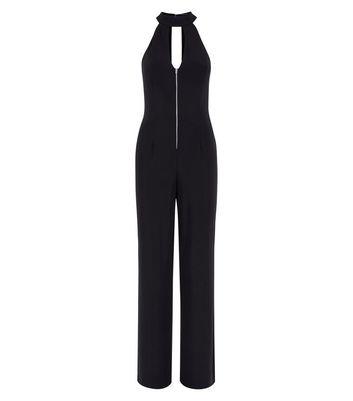 Black Zip Front High Neck Jumpsuit New Look