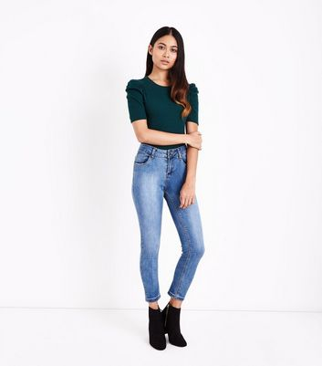 Petite Dark Green Puff Sleeve Ribbed T-Shirt New Look