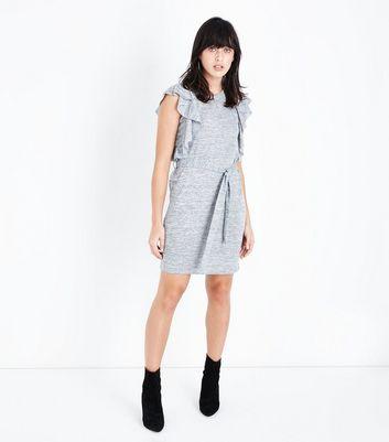 Grey Frill Trim Fine Knit Tunic Dress New Look