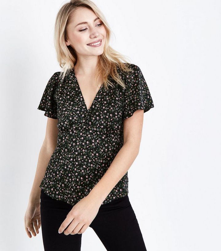 44932fc81489b Petite Black Floral Print Button Front Blouse