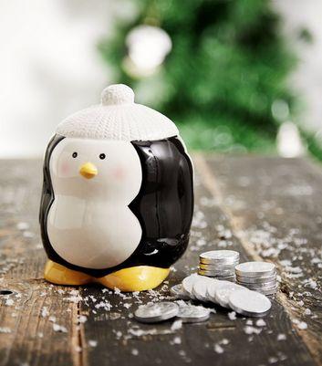 Black Penguin Money Box New Look