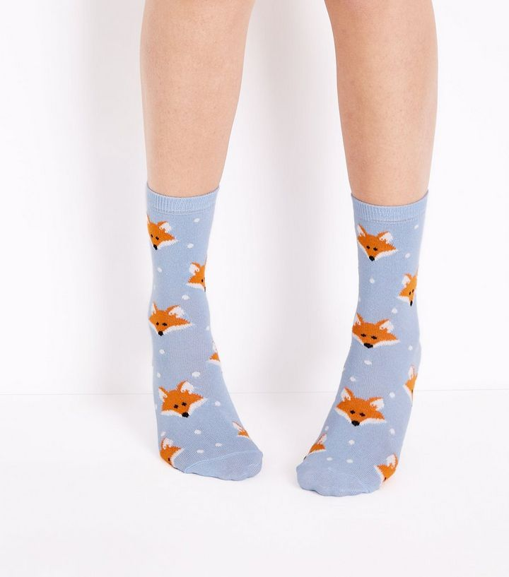 3c519f37c Pale Blue Fox Socks | New Look