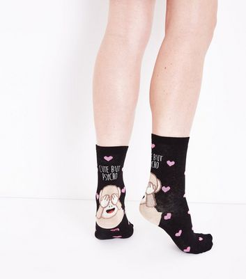 Black Cute But Psycho Monkey Pattern Socks New Look