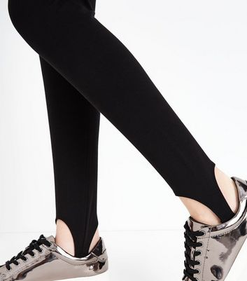 Teens Black Stirrup Leggings New Look
