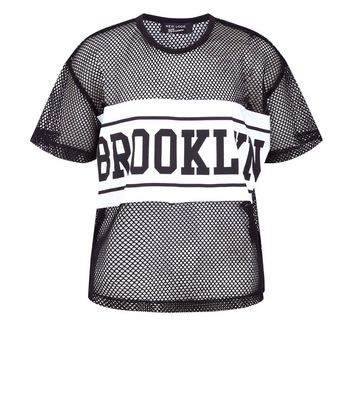 Teens Black Brooklyn Print Mesh T-Shirt New Look
