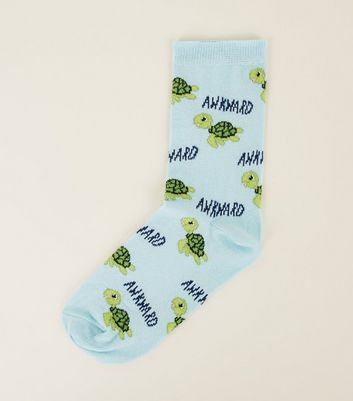 Pale Blue Awkward Turtle Patterned Socks