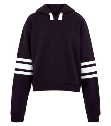 Teens Black Triple Stripe Sleeve Hoodie New Look
